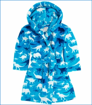 Hatley, Silhouette Dinos Fleece Robe in Blue