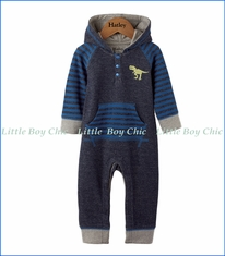 Hatley, Silhouette Roaring Dino Hooded One-Piece Romper in Navy Mélange