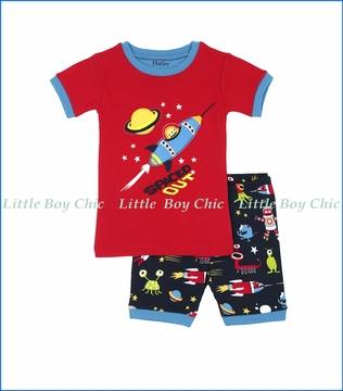 Hatley, Space Aliens Short PJ Set in Red