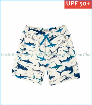 Hatley, Toothy Sharks Swim Trunks in White