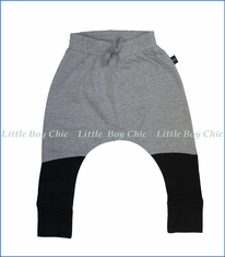 Hux Baby, Color Block Drop Crotch Pants in Grey