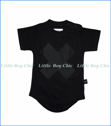 Hux Baby, Drop Back Cross T-Shirt in Black