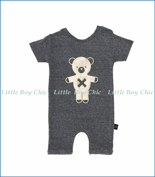 Hux Baby, Soldier Bear Short Slub Romper in Grey