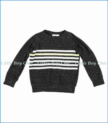 Joah Love, Chest Stripe Faux Cashmere Sweater in Grey