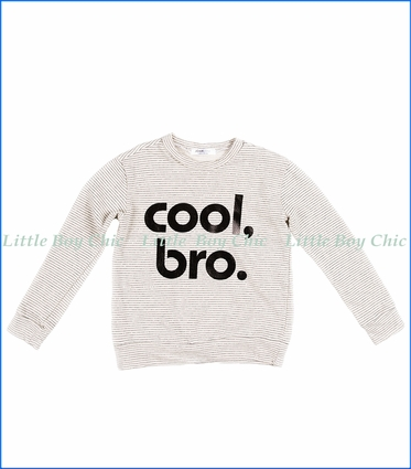 Joah Love, Cool Bro Striped French Terry Fashion Sweatshirt in Natural