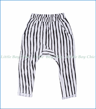 Joah Love, Emilio Vertical Stripe Harem Pants in Black and White