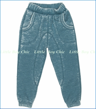 Joah Love, Reese Distressed Fleece Pants in Teal (c)
