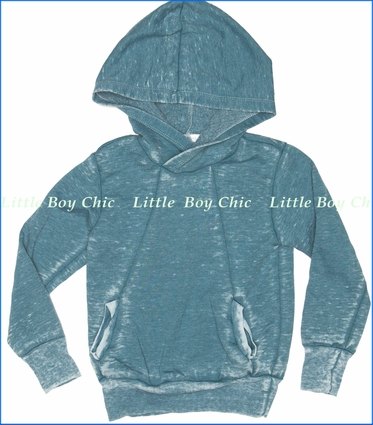 Joah Love, Troy Distressed Fleece Hoodie in Teal (c)