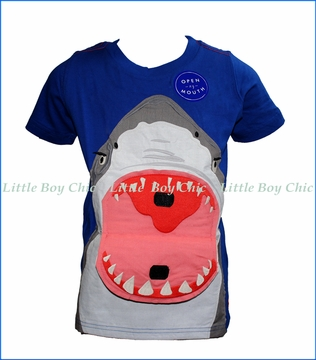 Joules, Chomper Applique T-Shirt in Blue