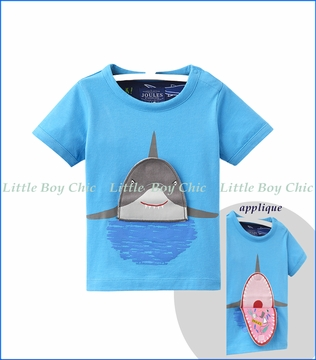 Joules, Chomper Applique Tee in Blue