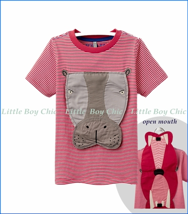 Joules, Hippo Applique T-Shirt in Red