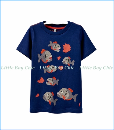Joules, Piranha Bite Applique T-Shirt in Blue