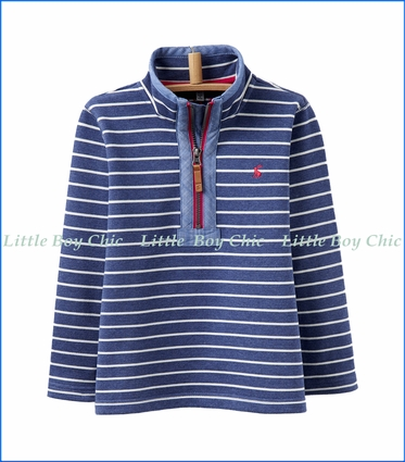 Joules, Salt Wash Half-Zip Stripe Sweatshirt in Blue