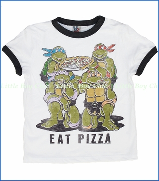 Junk Food, Eat Pizza Tee in Electric White (c)