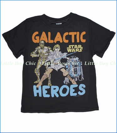 Junk Food, Galactic Heroes Tee in Jet Black