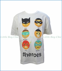 Junk Food, # Heroes Emoji T-Shirt in Off-White