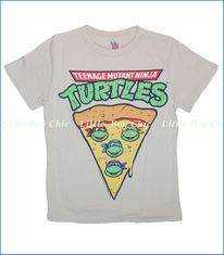 Junk Food, Teenage Mutant Ninja Turtles Pizza Tee in Foggy Grey