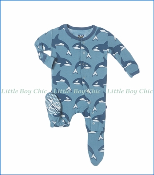 Kickee Pants, Blue Moon Orca Print Footie in Blue