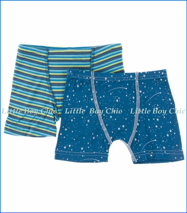 Kickee Pants, Boxer Briefs Set in Stripe & Twilight Starry Sky