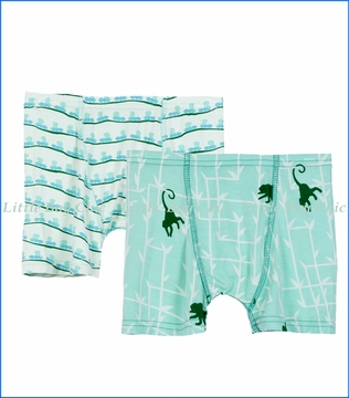 Kickee Pants, Boxer Briefs (Set of 2) in Aloe Ants & Glass Forest Monkey
