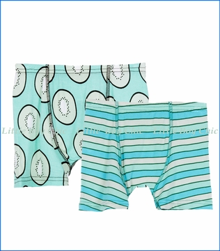 Kickee Pants, Boxer Briefs (Set of 2) in Tropical Stripe & Kiwi