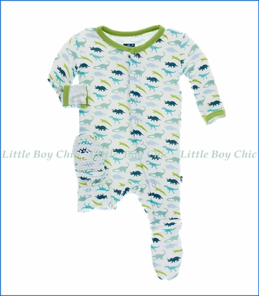 Kickee Pants, Footie with Snaps in Dino Print