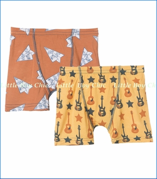 Kickee Pants, Fuzzy Bee Guitars and Copper Paper Airplanes Boxer Briefs Set - 2 Pack