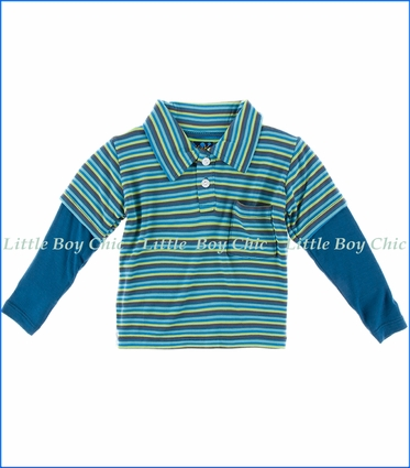 Kickee Pants, L/S Double Layer Polo in Boy Anniversary Stripe