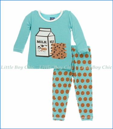 Kickee Pants, L/S Pajama Set in Glacier Cookie