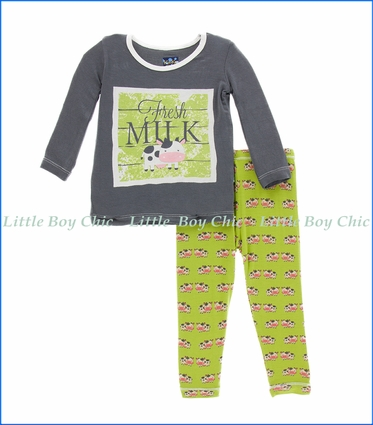 Kickee Pants, L/S Pajama Set in Meadow Cow