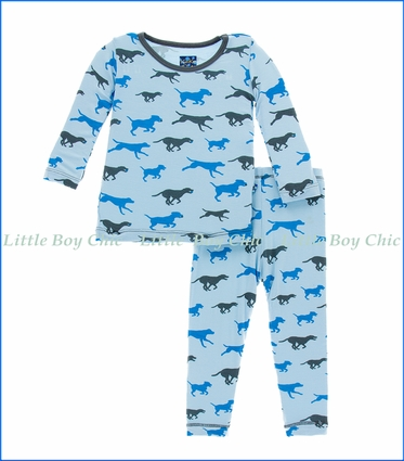 Kickee Pants, L/S Pajama Set in Pond Running Labs