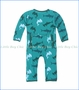 Kickee Pants, Lagoon Hammerhead Print Fitted Coverall in Green