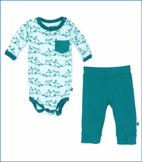 Kickee Pants, Natural Pine Birds Print LS One Piece & Pant Outfit Set
