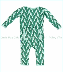 Kickee Pants, Parrot Coverall in Green