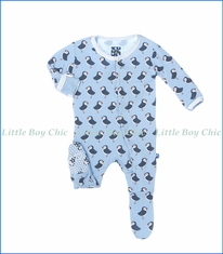 Kickee Pants, Pond Puffin Print Footie in Blue
