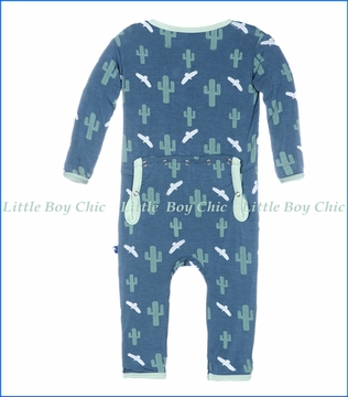 Kickee Pants, Print Fitted Coverall in Dusty Sky Cactus