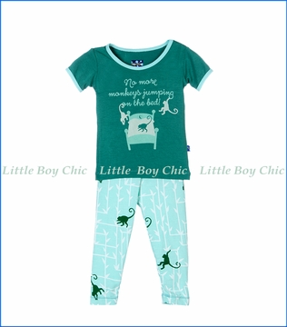 Kickee Pants, S/S Glass Forest Monkey PJ Set in Turquoise