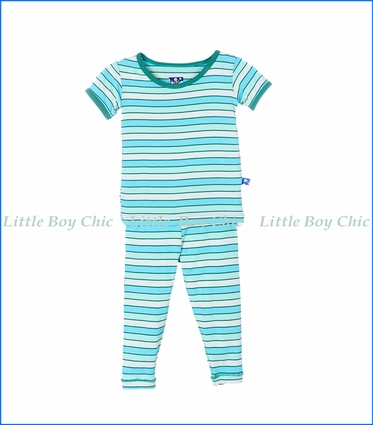 Kickee Pants, S/S Tropical Stripe PJ Set in Turquoise