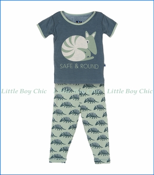 Kickee Pants, Short Sleeve Pajama Set in Dusty Sky Porcupine