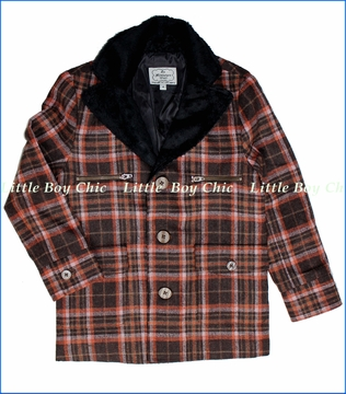 La Miniatura, Vintage Plaid Jacket with Sherpa Collar in Brown (c)