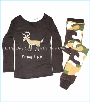 Lazy One, Young Buck Pajama Set in Brown