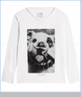 Little ElevenParis, Dog with Mustache V-Neck Tee in White