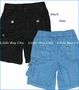 Little Traveler, Cargo Shorts in Black or Lapis Blue (c)
