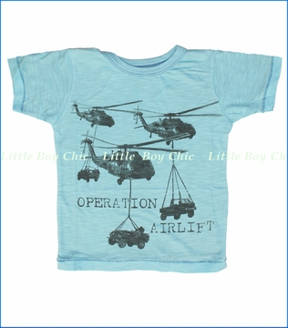 Little Traveler, Operation Airlift Slub Tee in Blue (c)