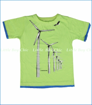 Little Traveler, Windmill Destruct Tee in Lime (c)