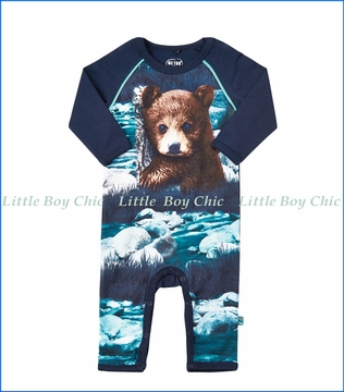 Me Too, L/S Organic Bear Print Romper in Blue