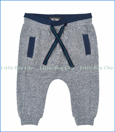 Me Too, Organic MicroStripe French Terry Sweatpants in Blue
