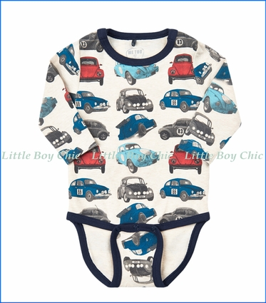 "Me Too, Organic ""VW"" Print Onesie in Navy Night"