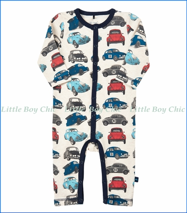 "Me Too, Organic ""VW"" Print Romper in Navy Night"