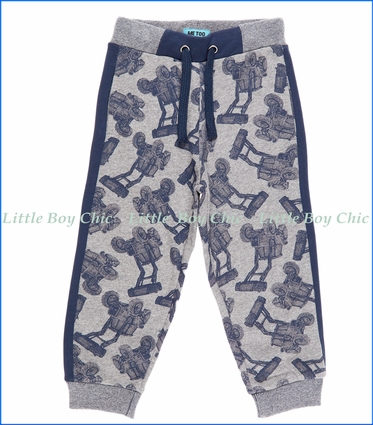 Me Too, Tractor Print Sweatpants in Grey Melange
